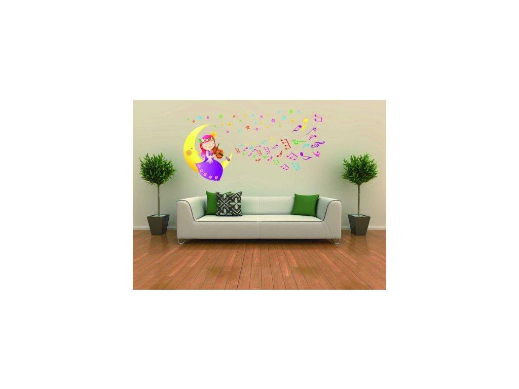 Samolepka na zeď - víla s houslemi