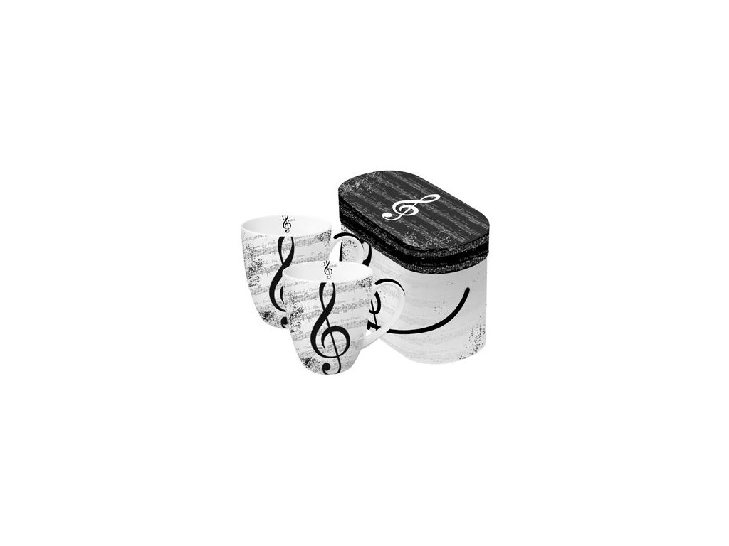 čajové hrnky s houslovým klíčem v dárkové krabičce