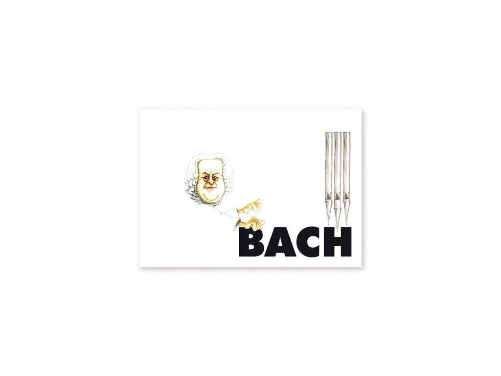 pohlednice karikatura Bach