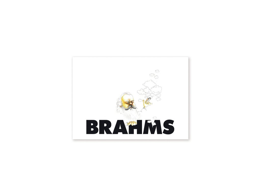 pohlednice karikatura Brahms