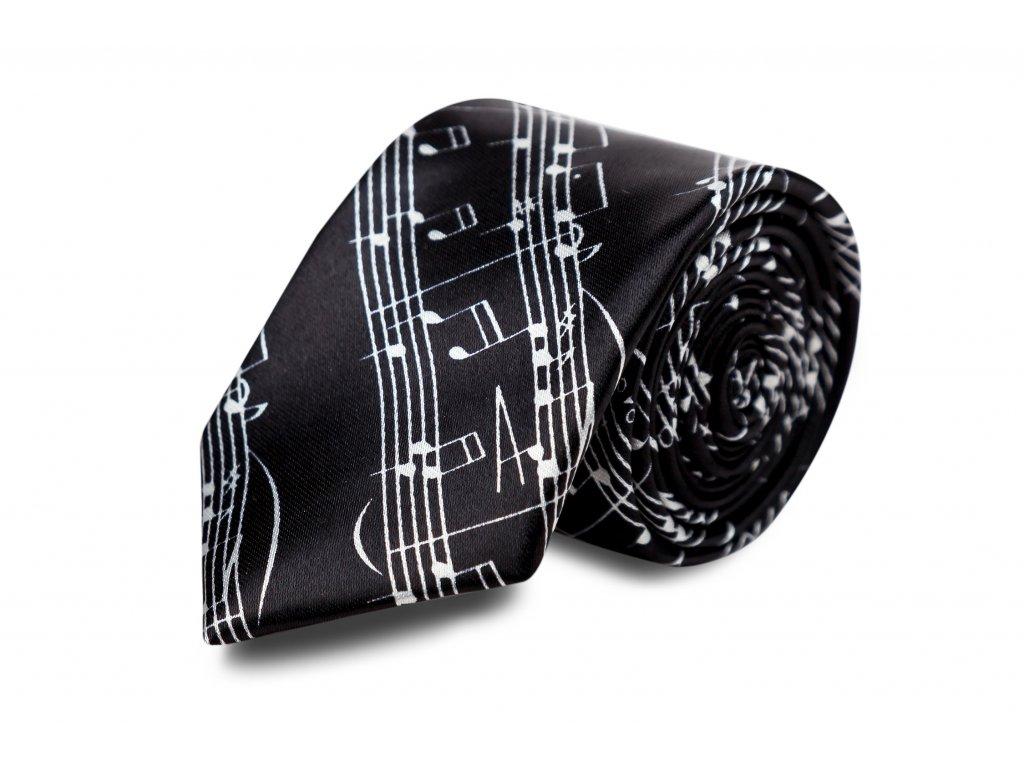 kravata černá, bílá partitura