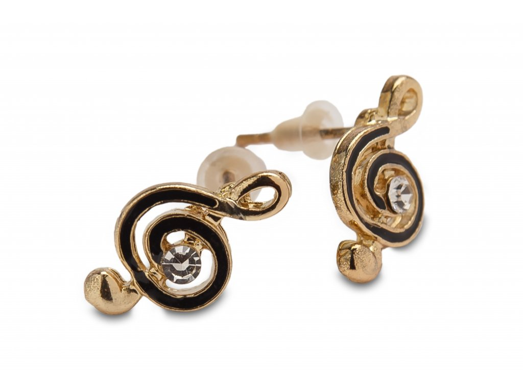 Náušnice houslové klíče, zlaté s černým malováním