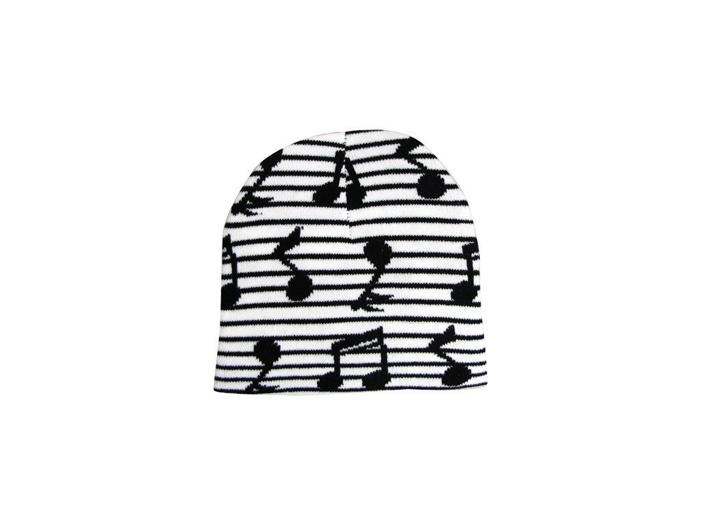 Čepice s notami - bílá