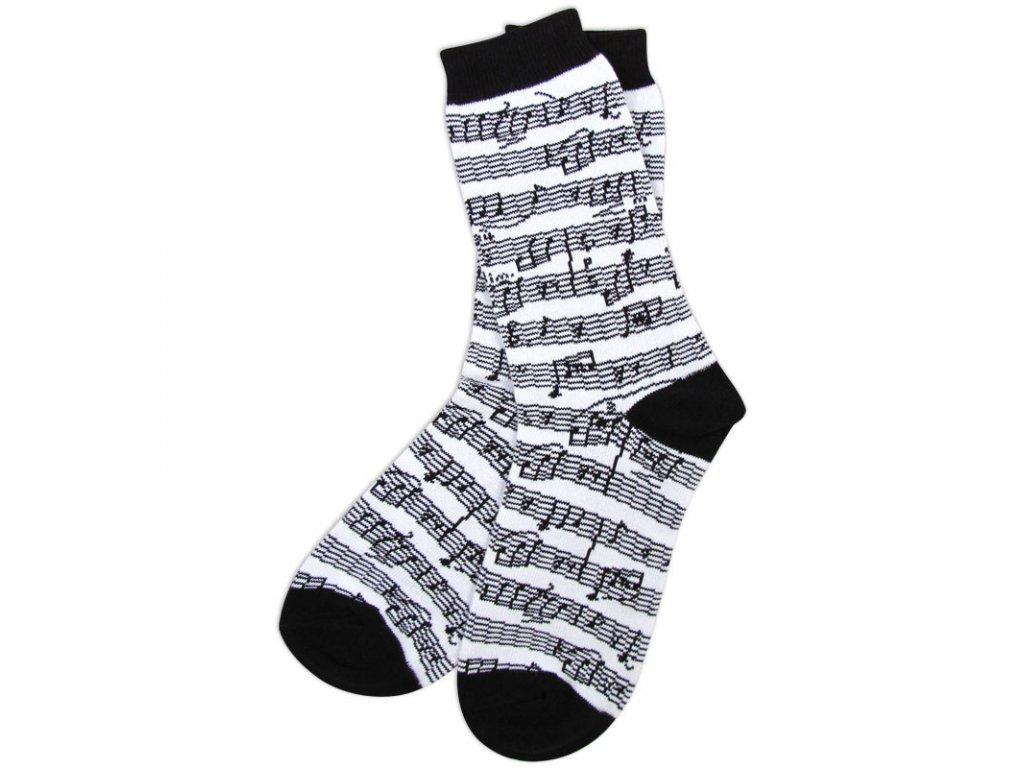 Ponožky s notami dámské - bílé, černá špička