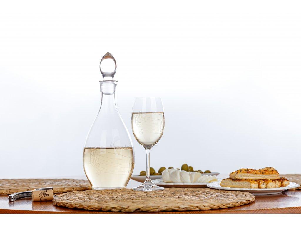 Broušená sklenice s partiturou na bílé víno, 250 ml (3)