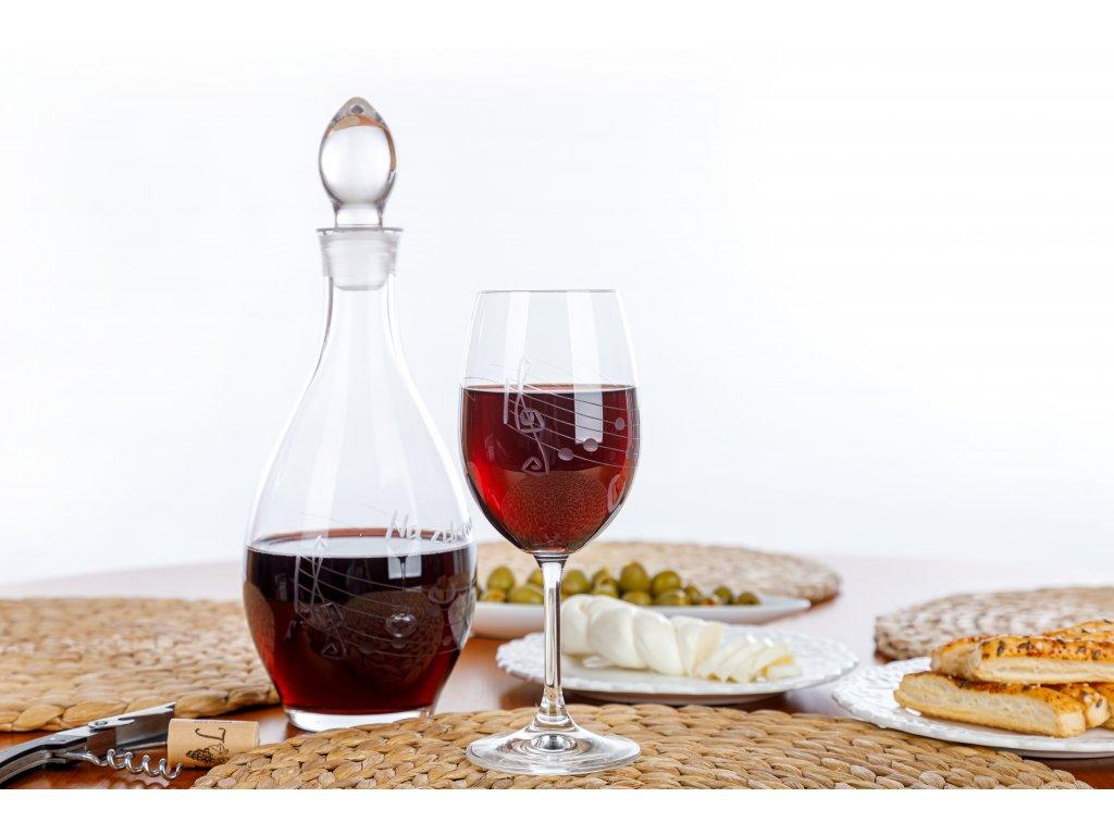 Broušená sklenice s partiturou na červené víno, 350 ml (2)