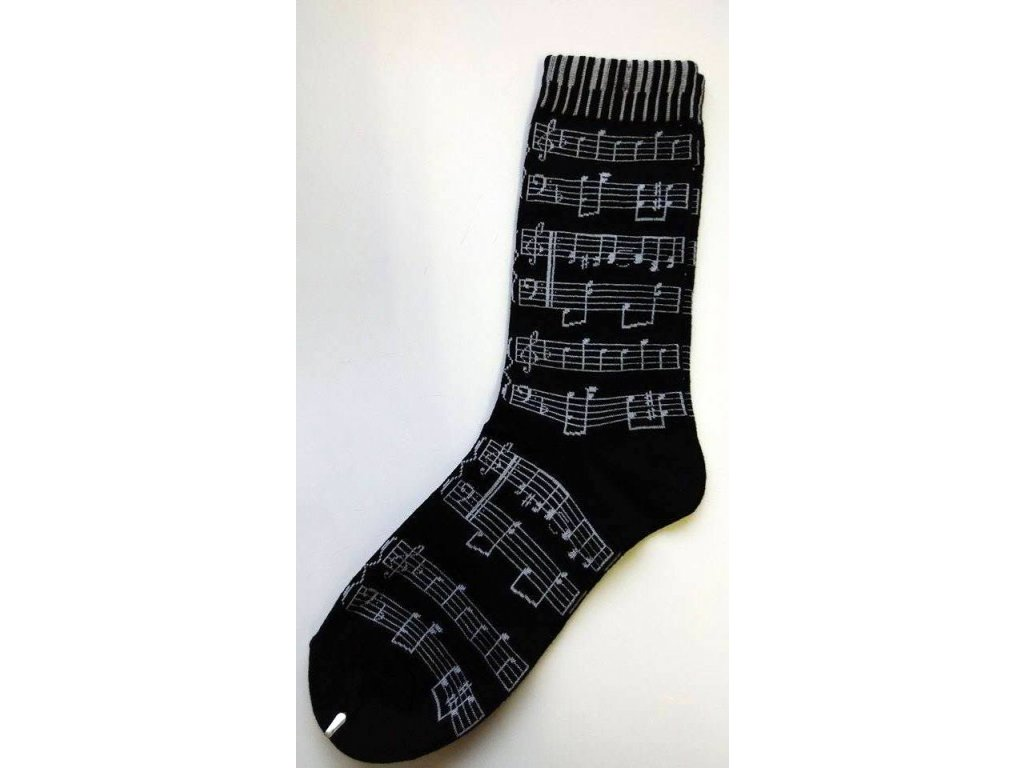 Ponožky s notami dámské - černé