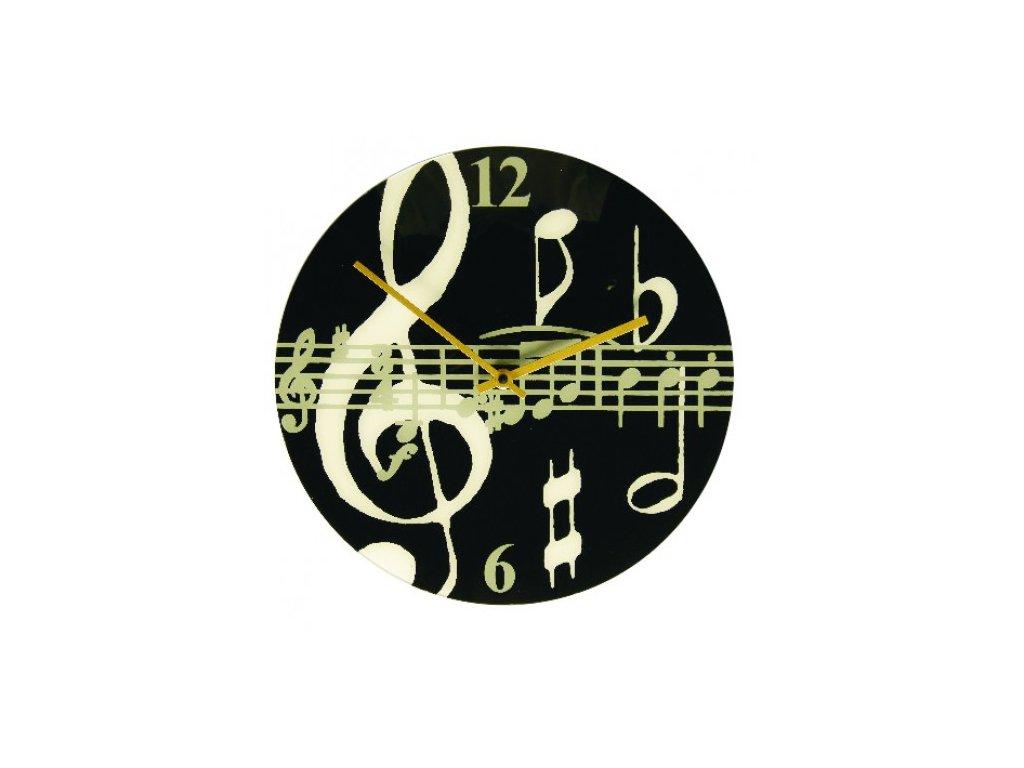 hodiny partitura černé kulaté
