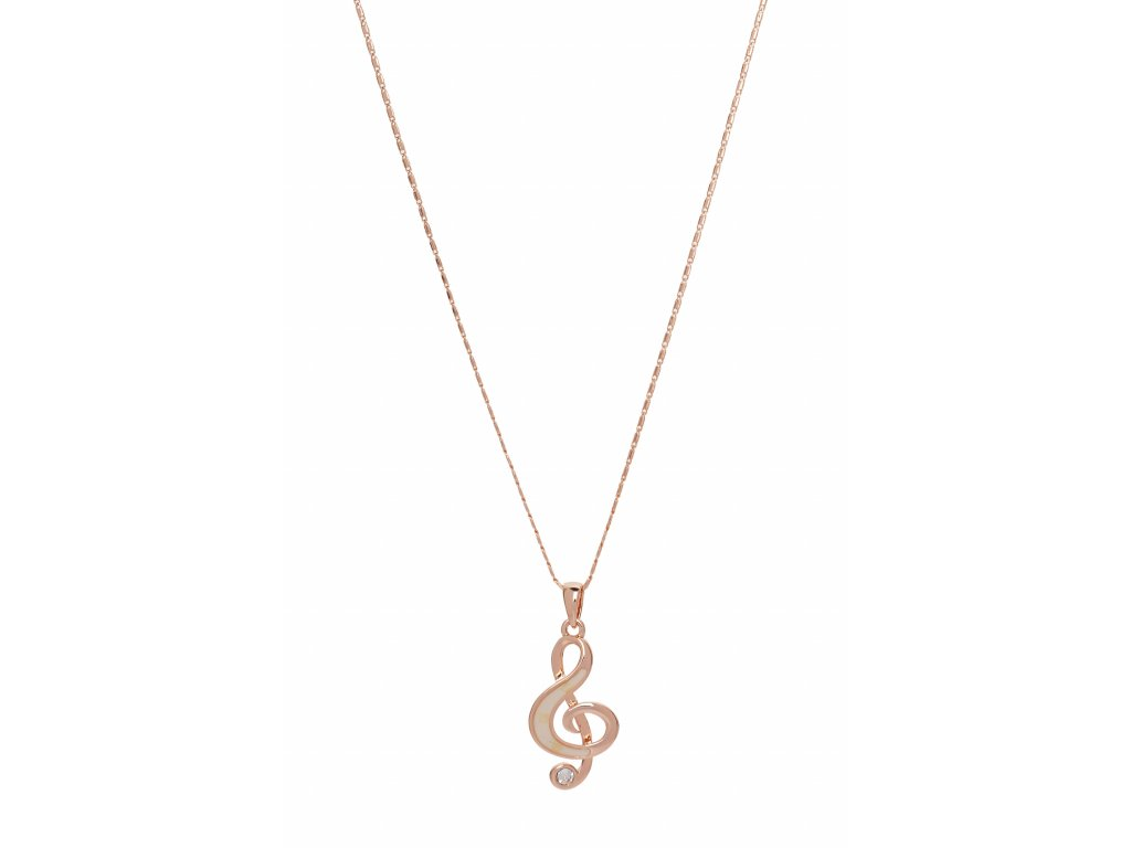 Náhrdelník houslový klíč s kamínkem zdobený perletí, růžové zlato