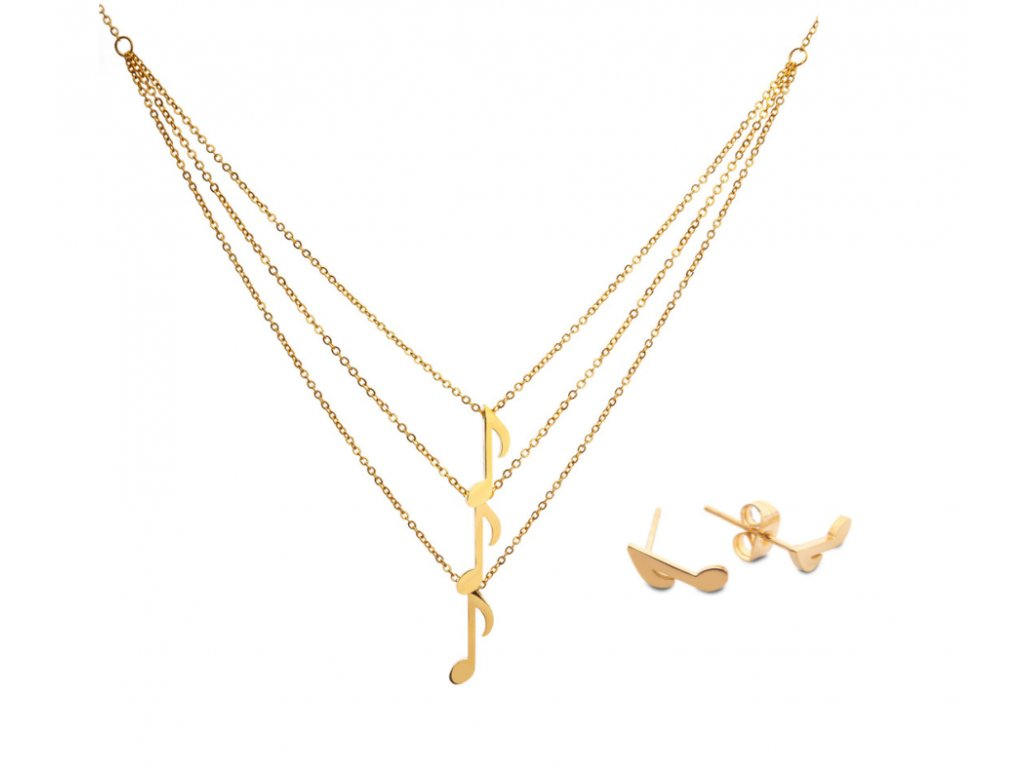 Bižuterní sada, zlatá trojitý náhrdelník a náušnice OSMINOVÁ NOTA