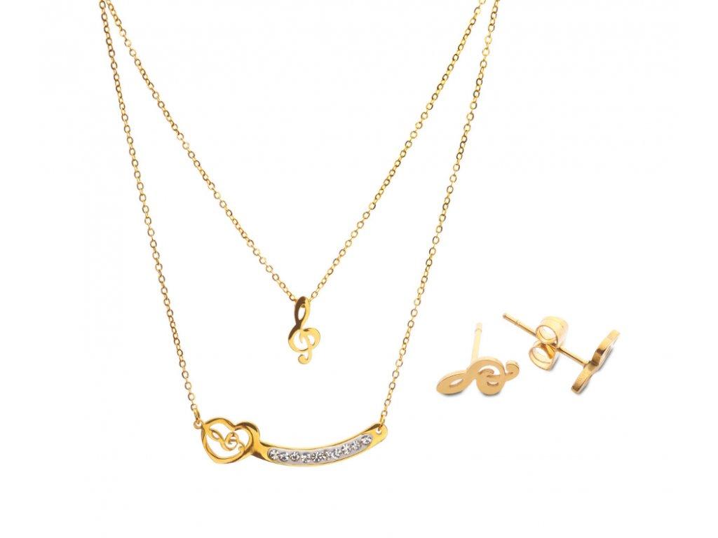 Bižuterní sada dvojitý náhrdelník a náušnice HOUSLOVÝ KLÍČ