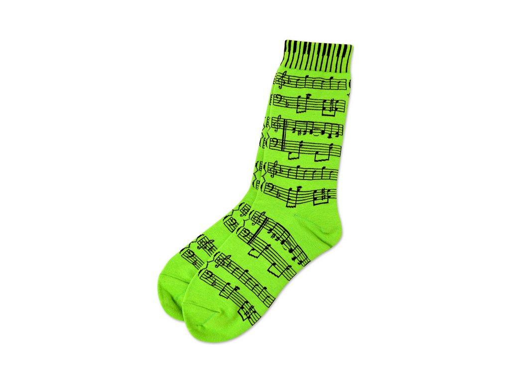 ponožky partitura, noty zelené