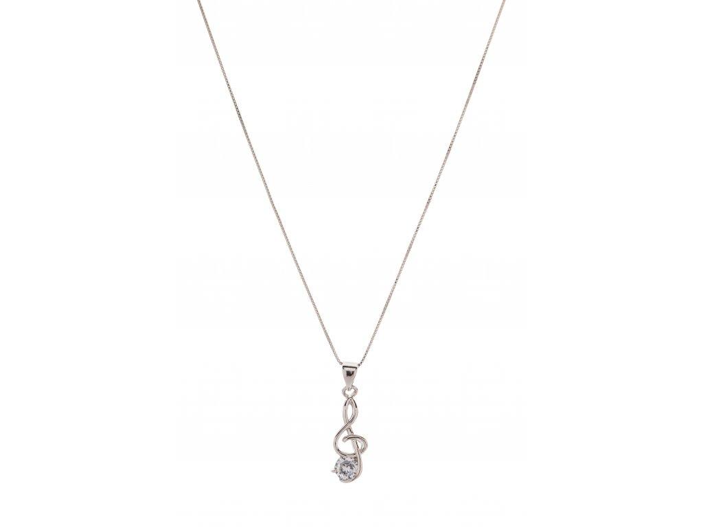 Náhrdelník houslový klíč s kamínkem na řetízku, stříbrný (1)