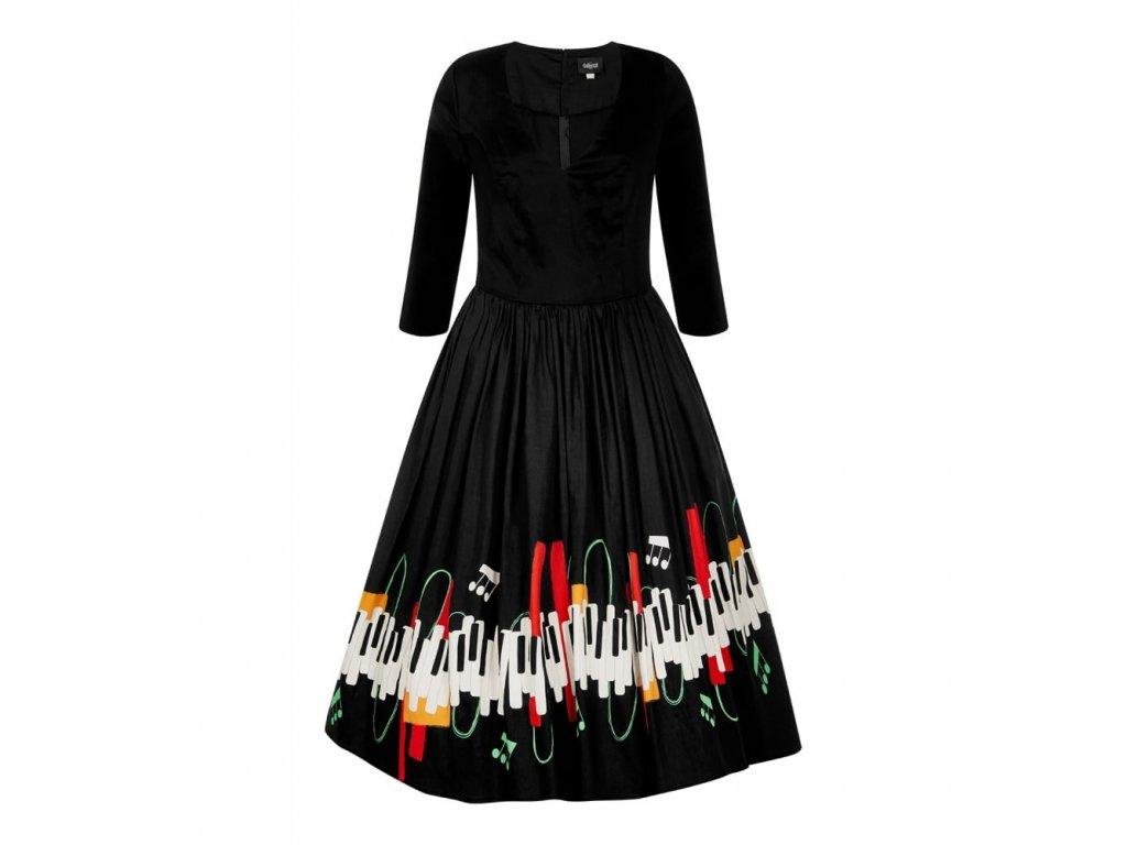 černé šaty klaviatura noty