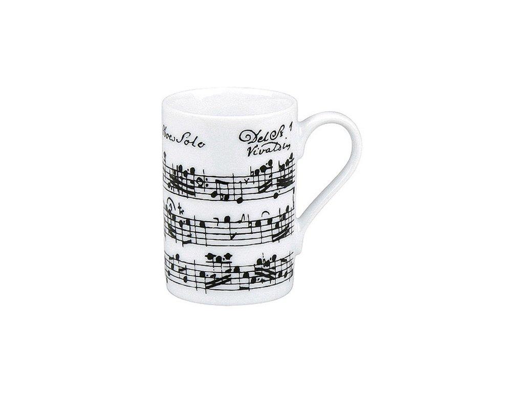 Hrnek s partiturou Vivaldi - dvojité espresso bílý