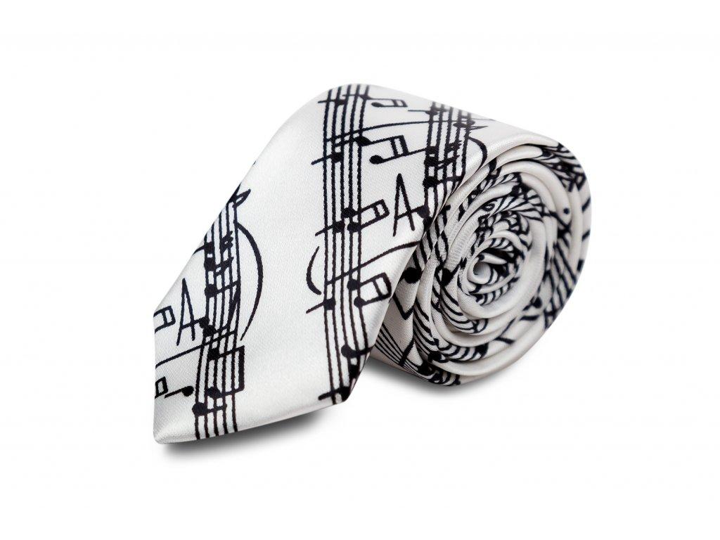 kravata bílá s černou partiturou