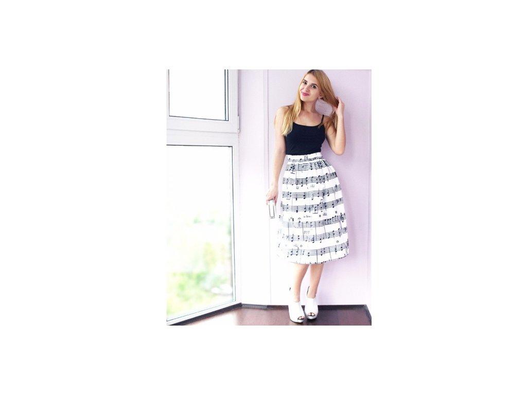 saténová sukně bílá s partiturou · sukně partitura · sukně bílá partitura · saténová  sukně bílá partitura a6148f70dae
