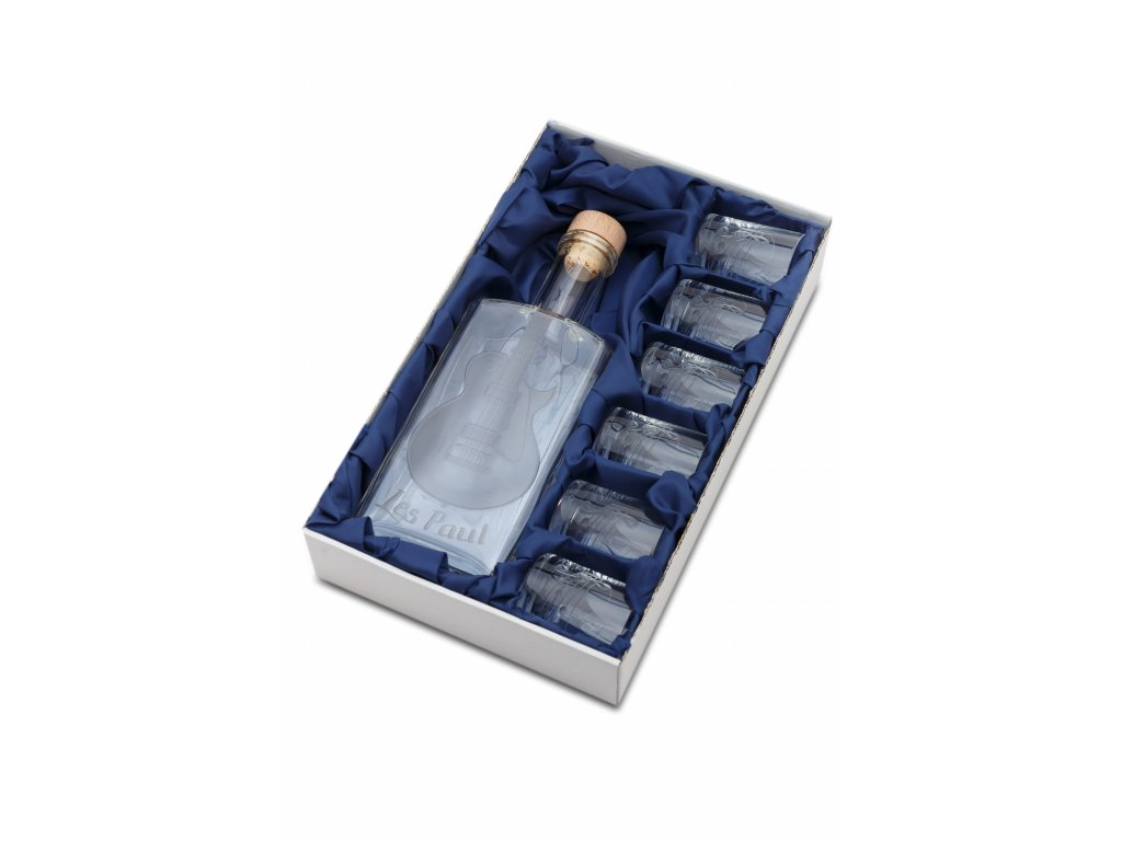 Skleněná láhev 0,5 l + 6 ks sklenic 60 ml elektrická kytara Les Paul