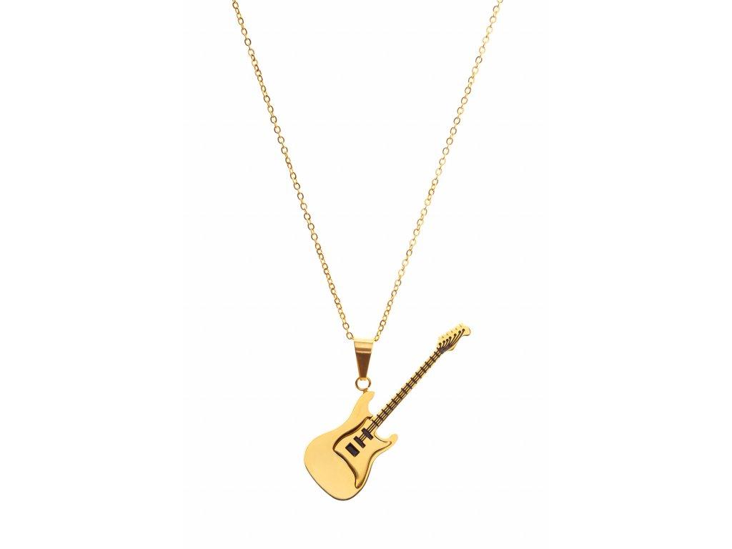 Náhrdelník elektrická kytara zlatý