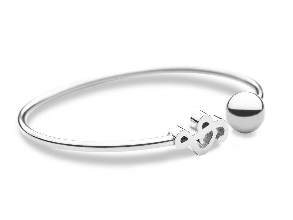 Kovový náramek houslový klíč, stříbrný