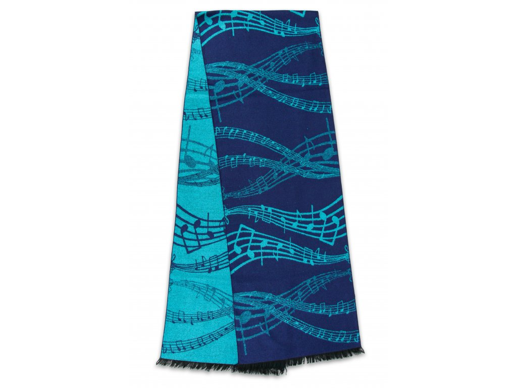 Teplý šál s partiturou modrý (1)