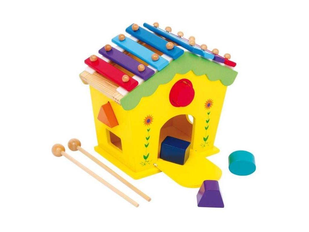 hudební dřevěný domeček vkládačka a xylofon