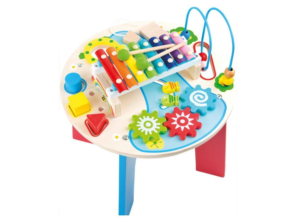 dřevěný hudební a motorický stoleček barevný