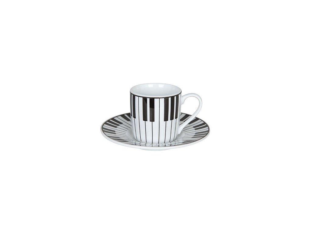hrnek espresso s podšálkem KLAVIATURA, bílý