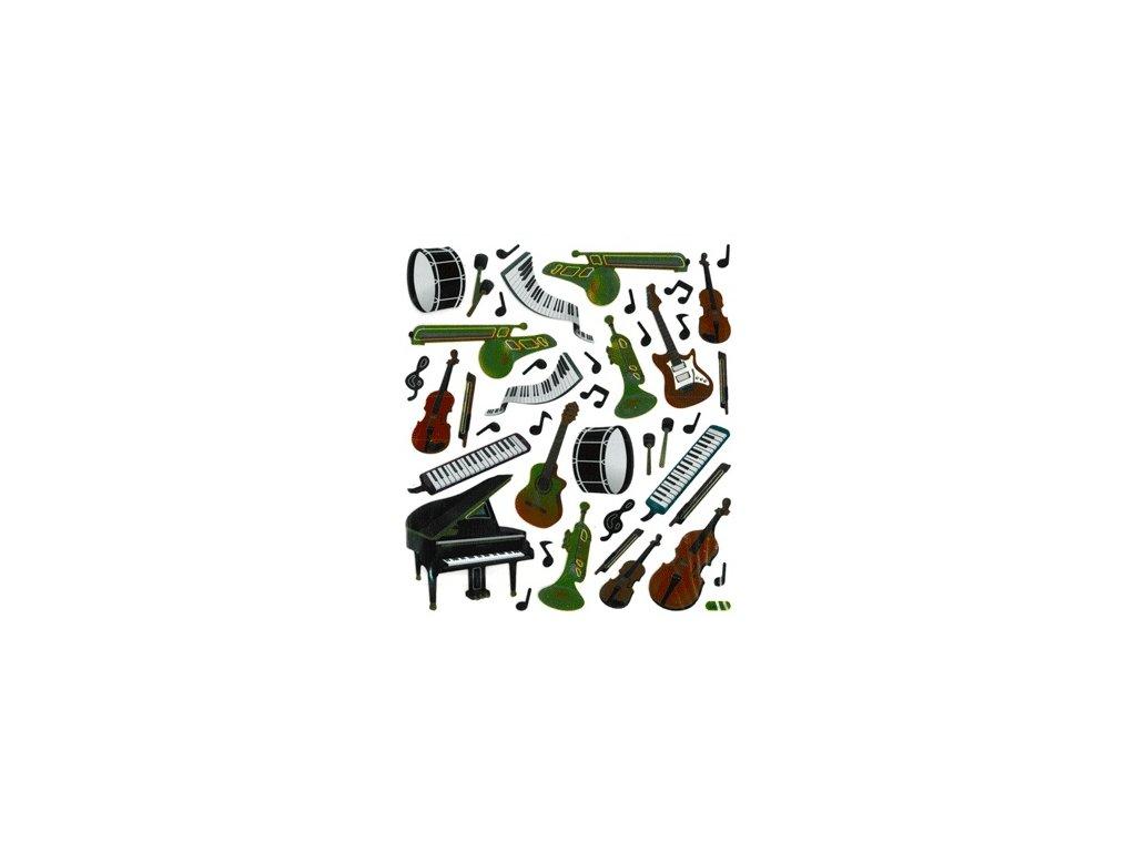 samolepky hudební nástroje lesklé