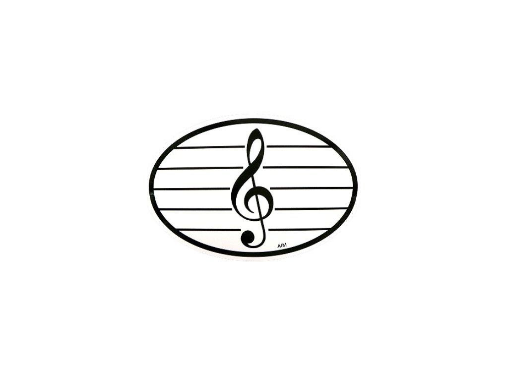 samolepka ovál houslový klíč