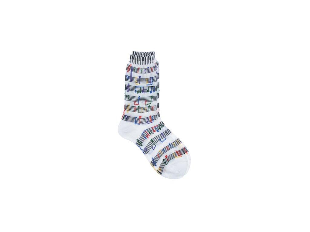 Ponožky s barevnou partiturou dámské bílé