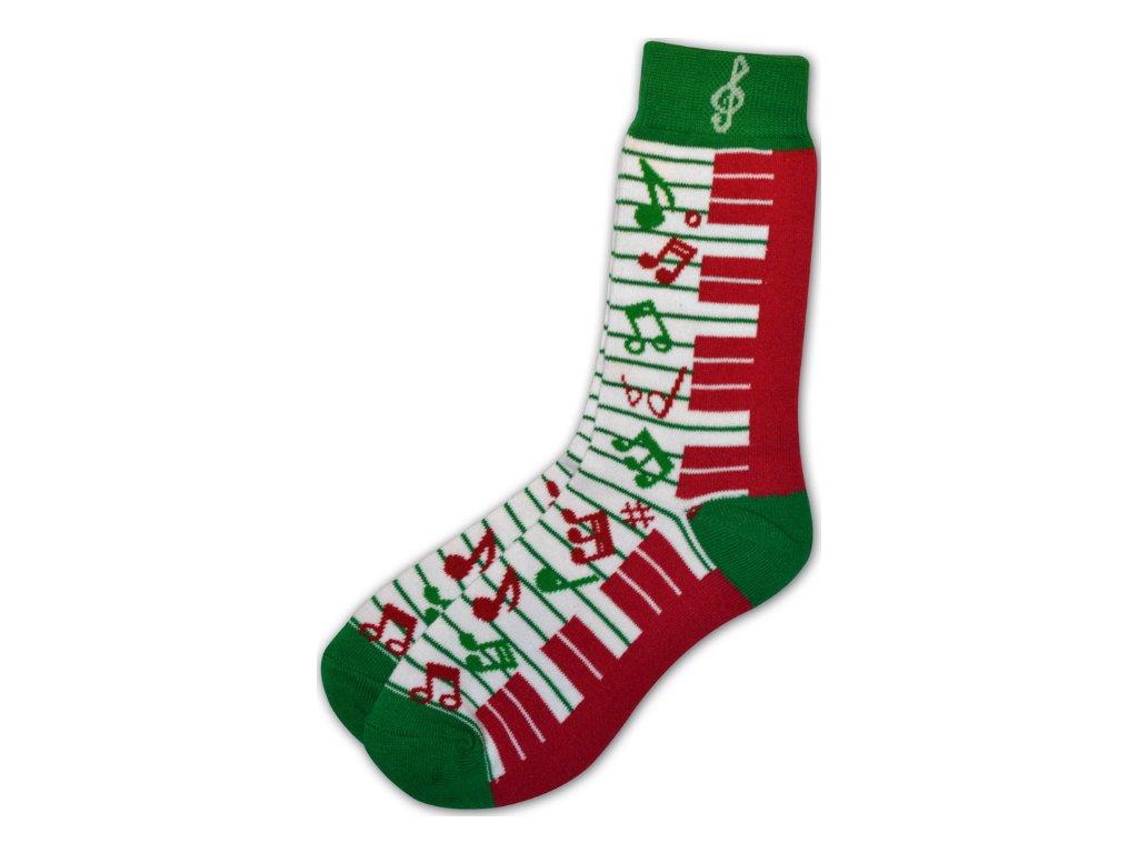 Ponožky s notami a klaviaturou dámské zeleno červené