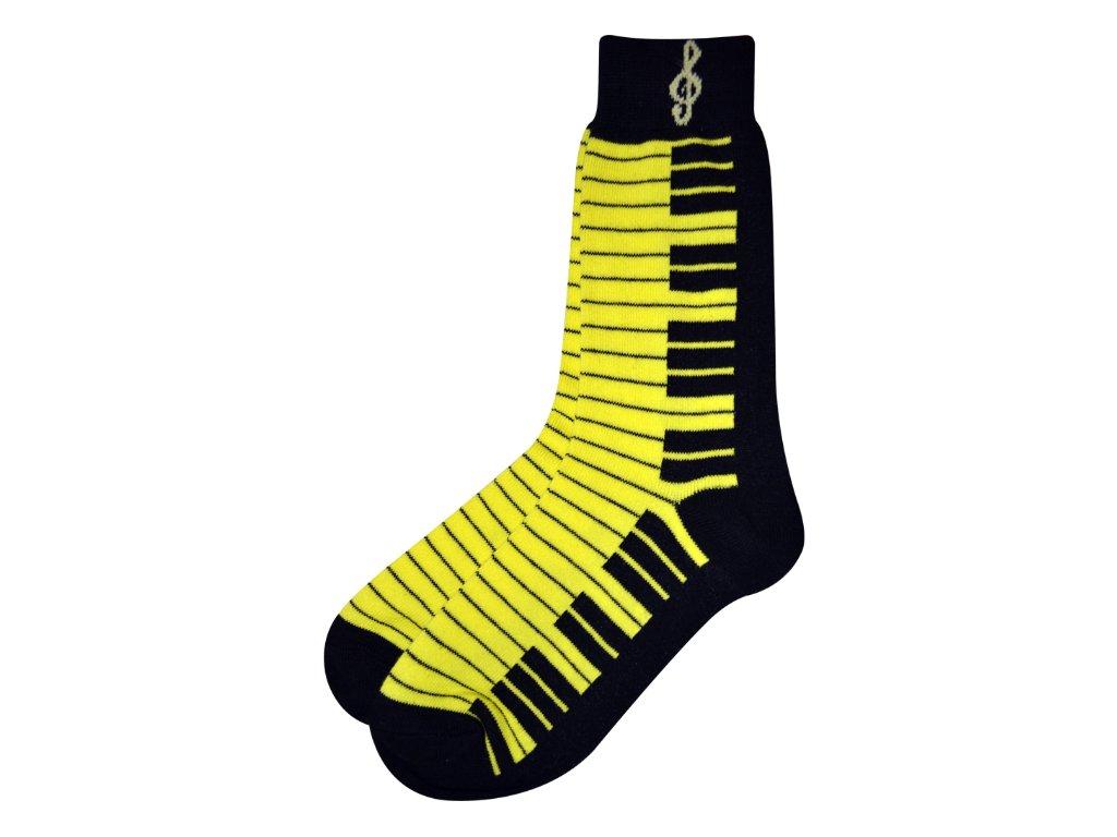 Ponožky s klaviaturou dámské žluté