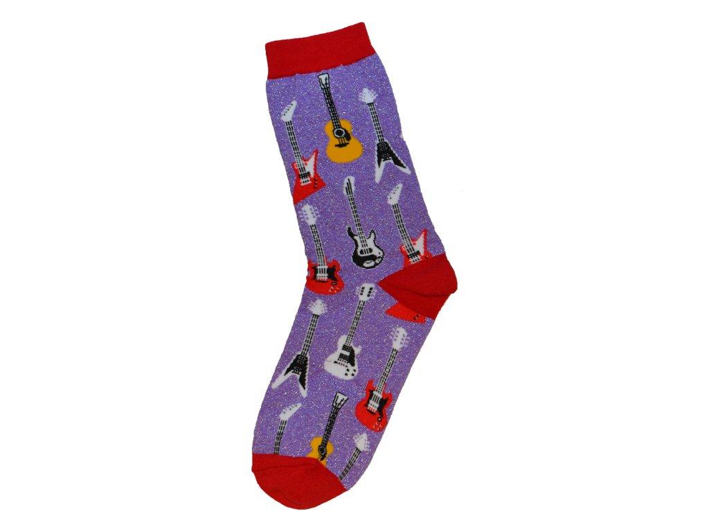 Ponožky kytary dámské fialové se třpytkami
