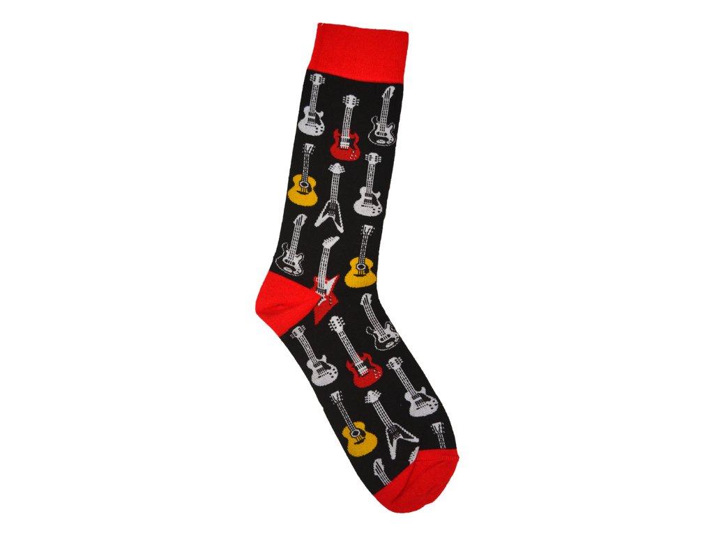 Ponožky kytary pánské černo červené