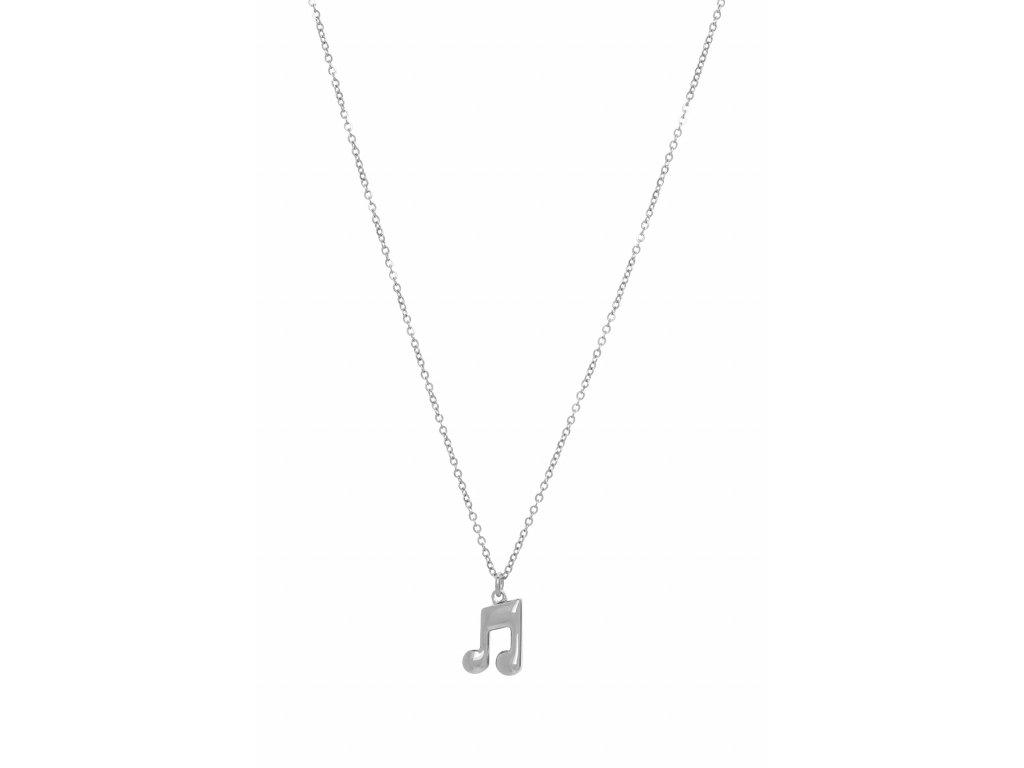 Náhrdelník osminová nota s trámcem na řetízku, stříbrný