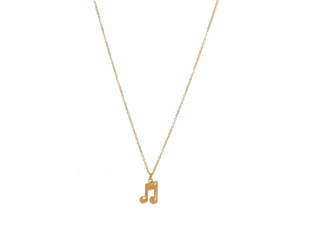 Náhrdelník osminová nota s trámcem na řetízku, zlatý