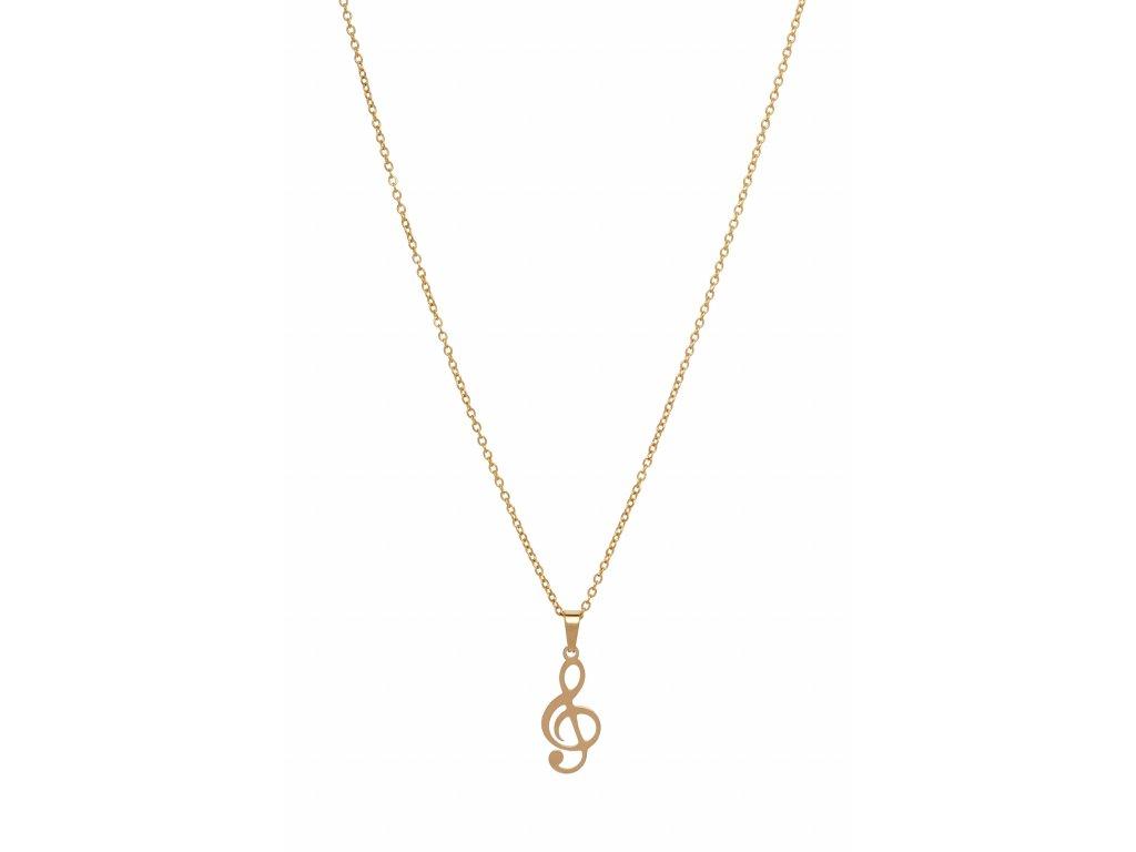 Bižuterní sada náhrdelník HOUSLOVÝ KLÍČ, zlatá