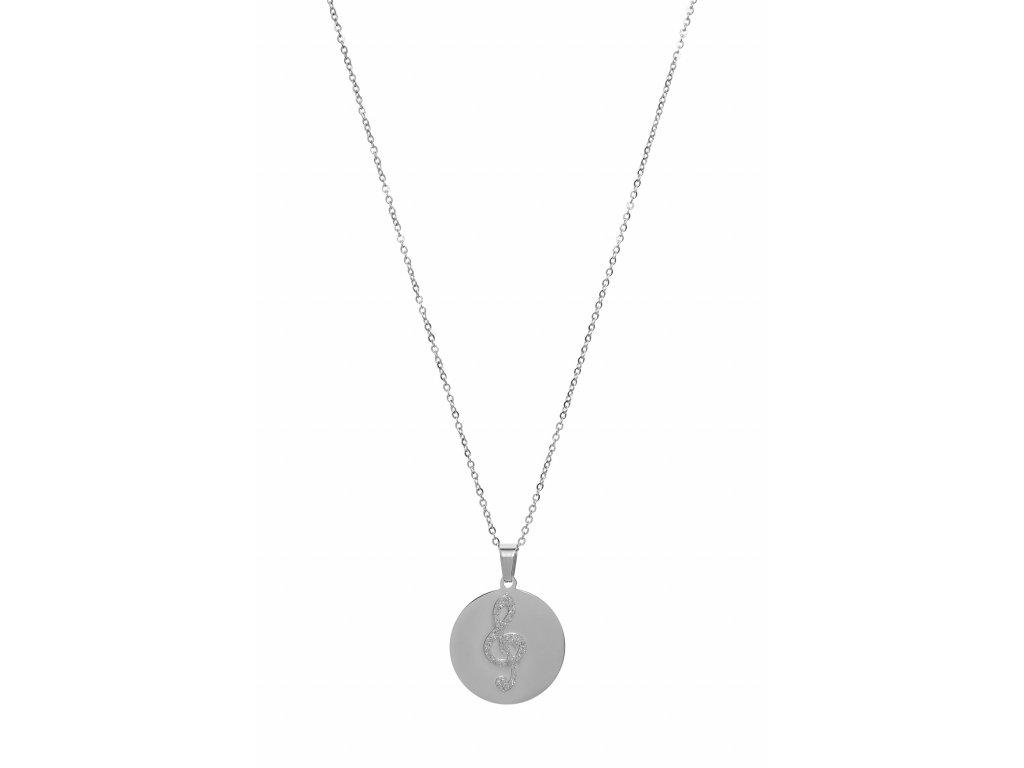 Bižuterní sada náhrdelník třpytivý HOUSLOVÝ KLÍČ, stříbrná