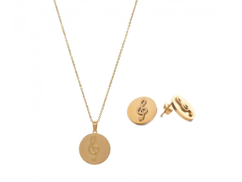 Bižuterní sada náhrdelník a náušnice třpytivý HOUSLOVÝ KLÍČ, zlatá
