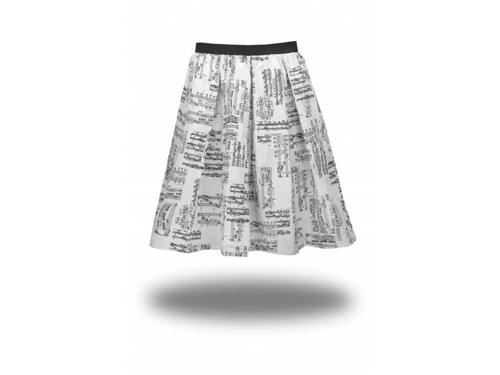 Bavlněná bílá sukně s černou partiturou