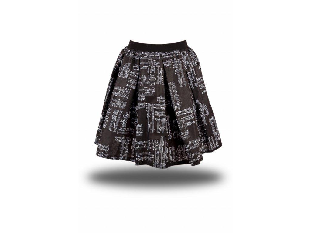 Bavlněná černá sukně s bílou partiturou (1)