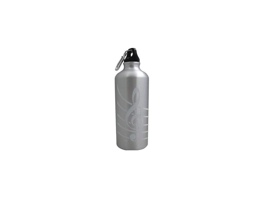 Aluminiová lahev s houslovým klíčem stříbrná