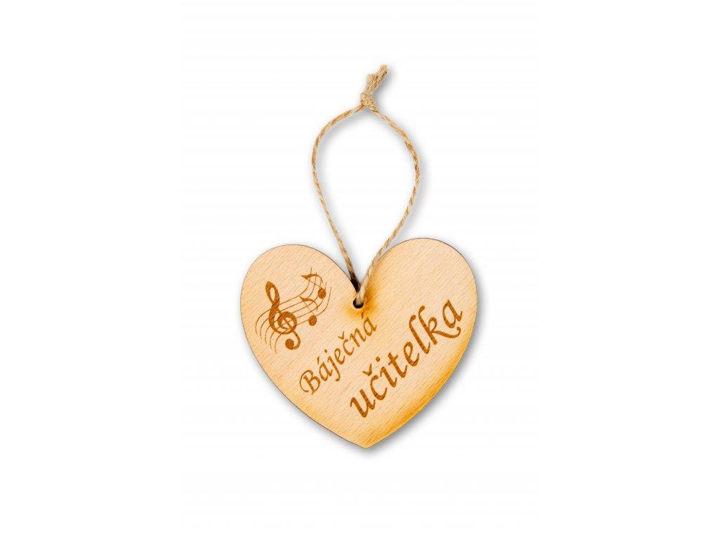 Dřevěné srdce s partiturou Báječná učitelka