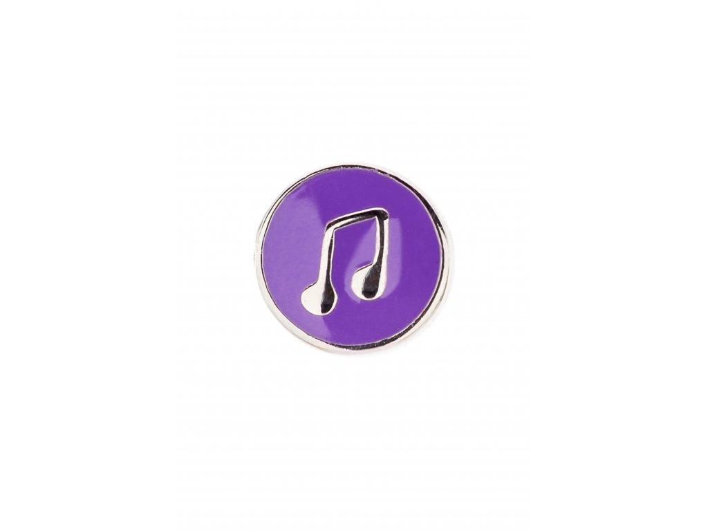 Přívěsek na náramek osminová nota s trámcem, fialový
