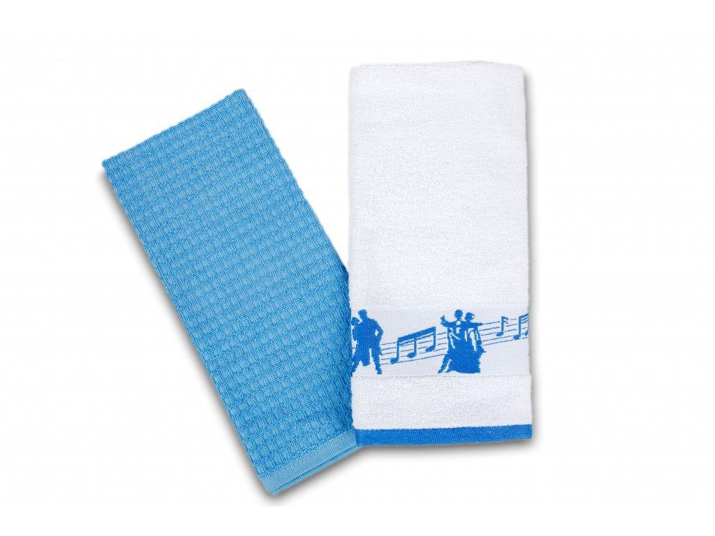 Set kuchyňských utěrek taneční pózy, bílo modrý (2)