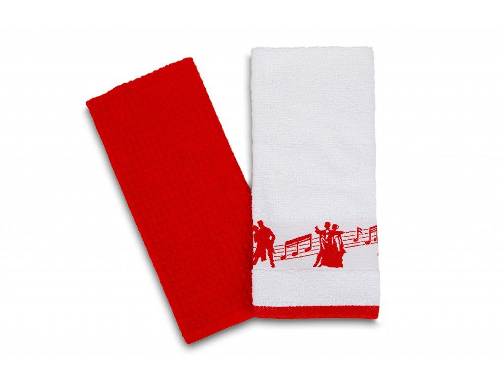 Set kuchyňských utěrek taneční pózy, bílo červený (2)