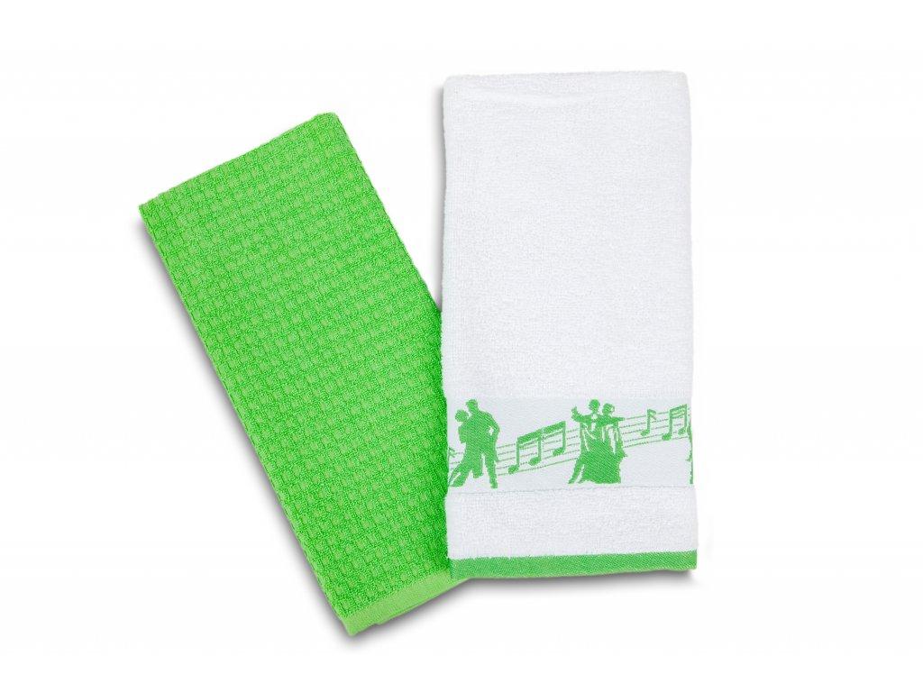Set kuchyňských utěrek taneční pózy, bílo zelený (2)