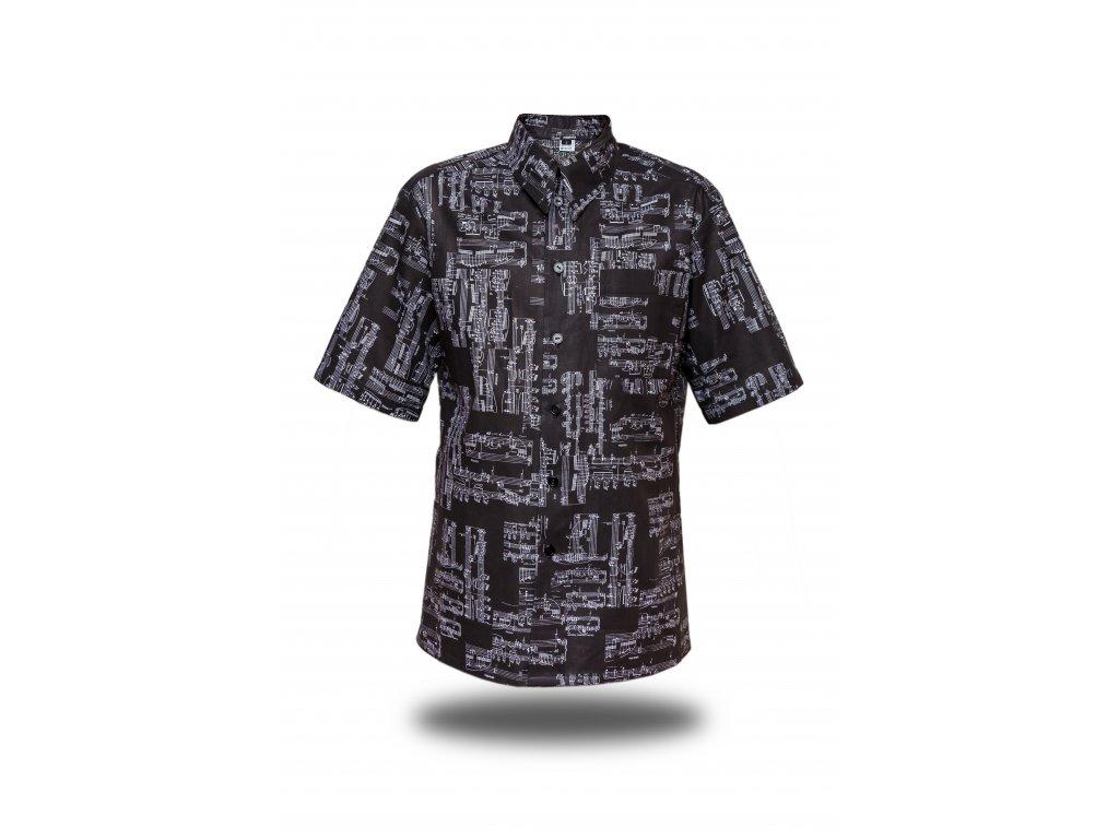 Pánská košile černá s partiturou krátký rukáv