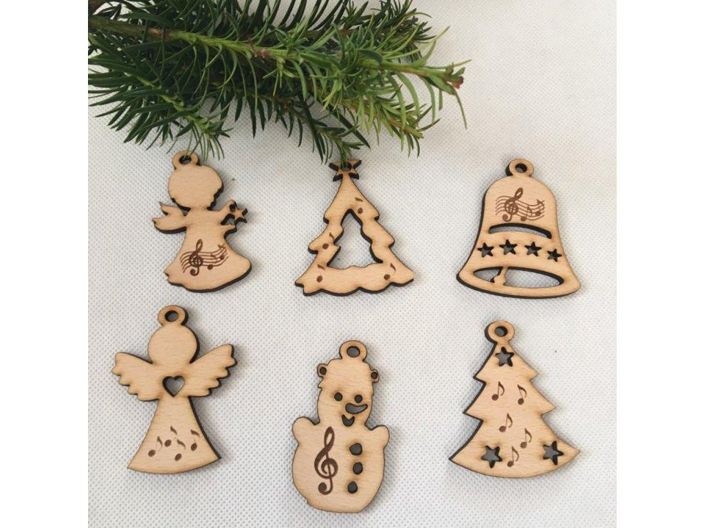 Dřevěné Vánoční ozdoby s hudebními motivy